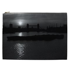 Vintage UK England London sun sets Tower Bridge 1970 Cosmetic Bag (XXL)