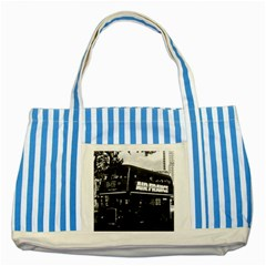 Vintage UK England London double decker bus 1970 Blue Striped Tote Bag
