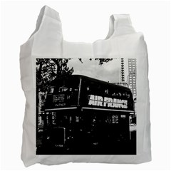 Vintage UK England London double decker bus 1970 Single-sided Reusable Shopping Bag