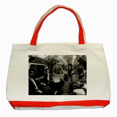 Vintage Uk  England Railway Inside Coach 1970 Red Tote Bag