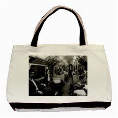 Vintage Uk  England Railway Inside Coach 1970 Twin Sided Black Tote Bag