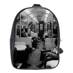 Vintage Uk  England Railway Inside Coach 1970 Large School Backpack