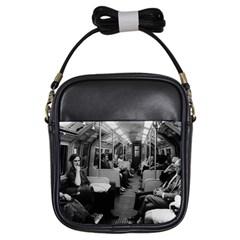 Vintage UK  England railway inside coach 1970 Kids  Sling Bag