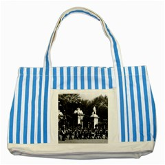 Vintage England London Changing guard Buckingham palace Blue Striped Tote Bag