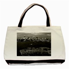 Vintage UK England river thames London skyline city Black Tote Bag