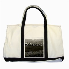 Vintage UK England river thames London skyline city Two Toned Tote Bag