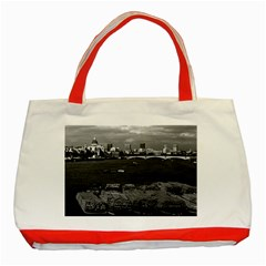 Vintage UK England river thames London skyline city Red Tote Bag