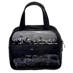 Vintage UK England river thames London skyline city Twin-sided Satchel Handbag