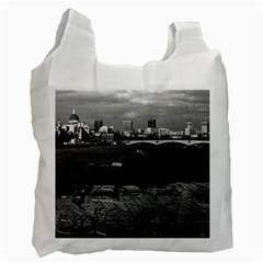 Vintage Uk England River Thames London Skyline City Single Sided Reusable Shopping Bag
