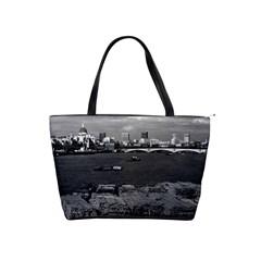 Vintage UK England river thames London skyline city Large Shoulder Bag