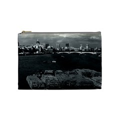 Vintage UK England river thames London skyline city Medium Makeup Purse