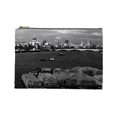 Vintage Uk England River Thames London Skyline City Large Makeup Purse