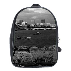 Vintage Uk England River Thames London Skyline City Large School Backpack