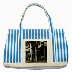 Vintage UK England London Shops Carnaby street 1970 Blue Striped Tote Bag