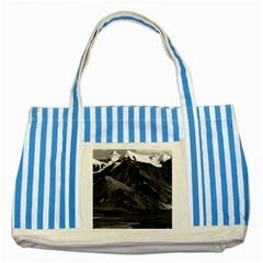 Vintage USA Alaska Mt Mckinley national park 1970 Blue Striped Tote Bag