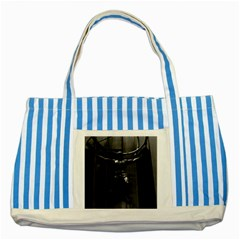 Vintage Usa New York Rockefeller Center Atlas Statue Blue Striped Tote Bag