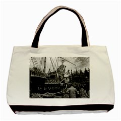 Vintage USA California Disneyland sailing boat 1970 Twin-sided Black Tote Bag