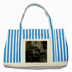 Vintage France palace of Versailles Latona Fountain Blue Striped Tote Bag