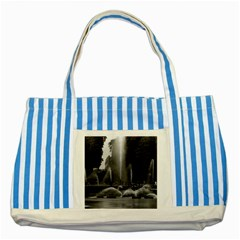 Vintage France palace of Versailles neptune fountains Blue Striped Tote Bag