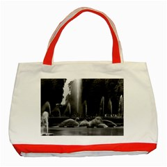 Vintage France Palace Of Versailles Neptune Fountains Red Tote Bag