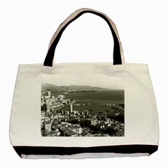 Vintage Principality of Monaco  the port of Monte Carlo Twin-sided Black Tote Bag