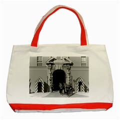Vintage Principality of Monaco palace gate and guard Red Tote Bag