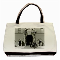 Vintage Principality of Monaco palace gate and guard Twin-sided Black Tote Bag