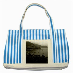 Vintage Principality of Monaco The port of Monaco 1970 Blue Striped Tote Bag