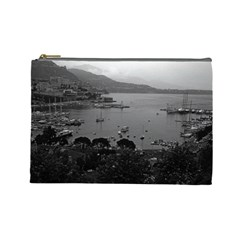 Vintage Principality of Monaco The port of Monaco 1970 Large Makeup Purse