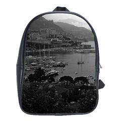 Vintage Principality of Monaco The port of Monaco 1970 Large School Backpack