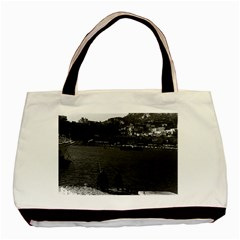 Vintage Principality Of Monaco The Port Of Monaco 1970 Twin Sided Black Tote Bag