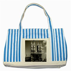 Vintage UK England London Westminster Abbey 1970 Blue Striped Tote Bag