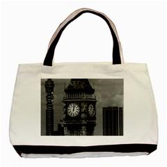 Vintage UK England London The post office tower Big ben Black Tote Bag