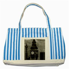 Vintage UK England London The post office tower Big ben Blue Striped Tote Bag
