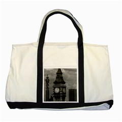 Vintage UK England London The post office tower Big ben Two Toned Tote Bag