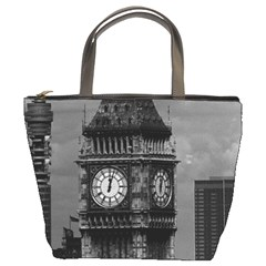 Vintage UK England London The post office tower Big ben Bucket Handbag