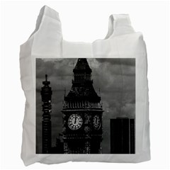 Vintage Uk England London The Post Office Tower Big Ben Single Sided Reusable Shopping Bag