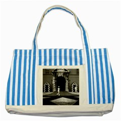 Vintage Principality of Monaco & princely palace 1970 Blue Striped Tote Bag