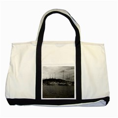 Vintage Principality Of Monaco The Port Of Monaco 1970 Two Toned Tote Bag
