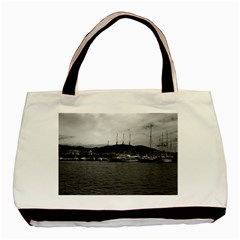 Vintage Principality of Monaco The port of Monaco 1970 Twin-sided Black Tote Bag
