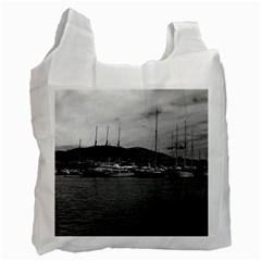 Vintage Principality of Monaco The port of Monaco 1970 Single-sided Reusable Shopping Bag