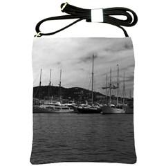 Vintage Principality of Monaco The port of Monaco 1970 Cross Shoulder Sling Bag