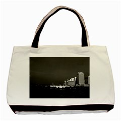 Vintage China Hong Kong boat skyscraper ??sea 1970 Black Tote Bag