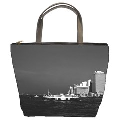 Vintage China Hong Kong boat skyscraper ??sea 1970 Bucket Handbag