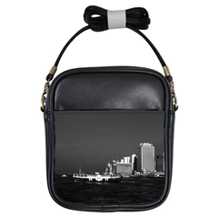 Vintage China Hong Kong boat skyscraper ??sea 1970 Kids  Sling Bag