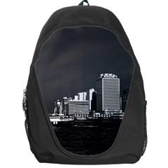 Vintage China Hong Kong boat skyscraper ??sea 1970 Backpack Bag