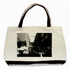 Vintage China Hong Kong Street City Cars 1970 Black Tote Bag