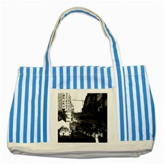 Vintage China Hong Kong Street City Cars 1970 Blue Striped Tote Bag