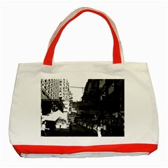 Vintage China Hong Kong street City cars 1970 Red Tote Bag