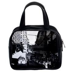 Vintage China Hong Kong Street City Cars 1970 Twin Sided Satchel Handbag